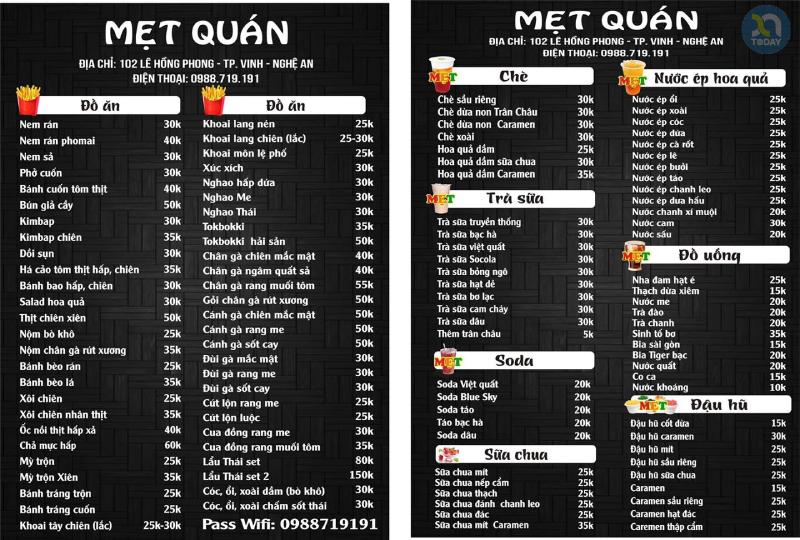 menu Mẹt Quán ẩm thực Nghệ An