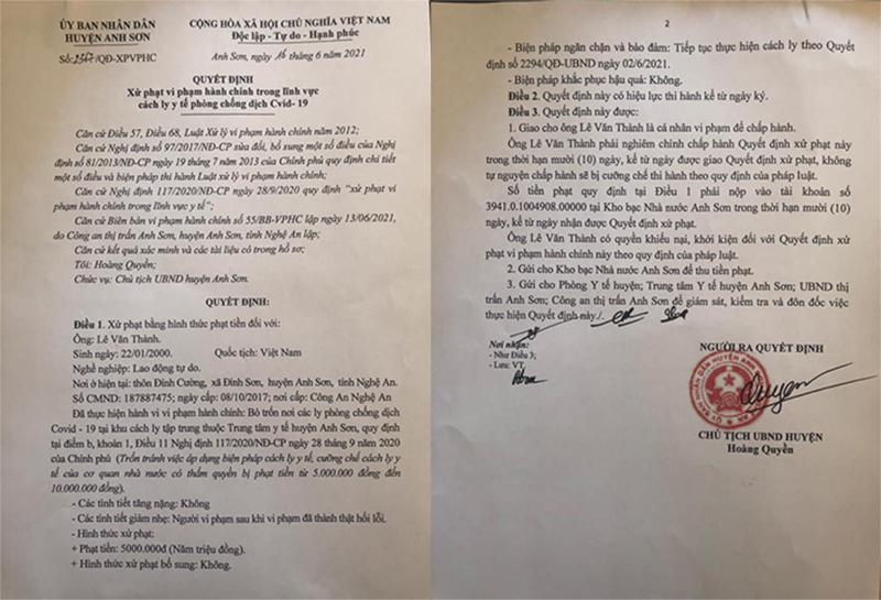 Quyết định xử phạt xử phạt đối tượng trốn cách ly Lê Văn Thành